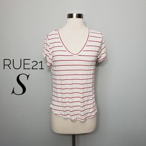 RUE21 red & white striped v neck relaxed tee shirt